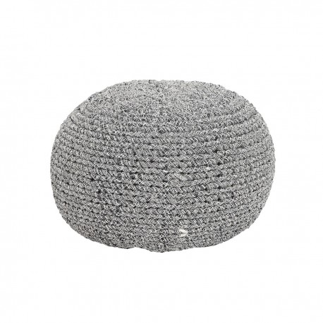 pouf rond tresse mailles coton noir blanc hubsch 700115. Black Bedroom Furniture Sets. Home Design Ideas