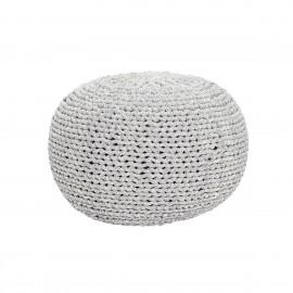 Pouf rond tresse coton gris blanc Hubsch