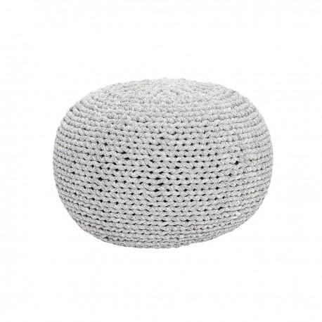 Pouf rond tressé coton gris blanc Hübsch