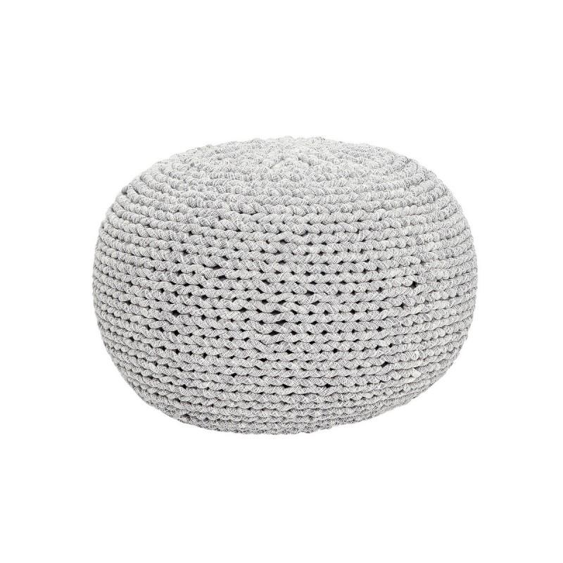 pouf rond tresse coton gris blanc hubsch 700101. Black Bedroom Furniture Sets. Home Design Ideas