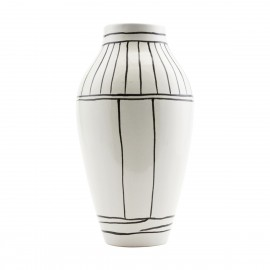 Vase House Doctor Outline faïence blanc et noir