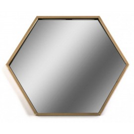 Miroir mural hexagonal metal laiton Versa