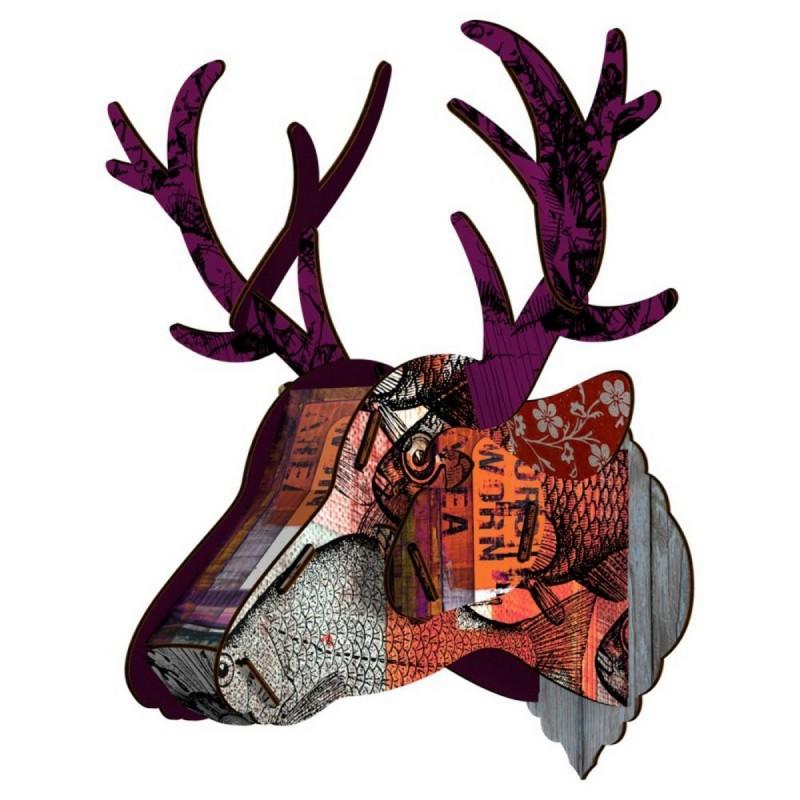 tete de cerf trophee mural miho purple branch. Black Bedroom Furniture Sets. Home Design Ideas