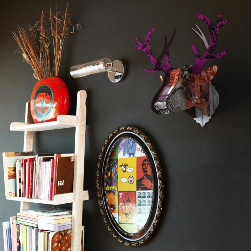 tete de cerf trophee mural miho purple branch kdesign. Black Bedroom Furniture Sets. Home Design Ideas