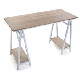 Table de bureau bois clair métal blanc Versa Mitte