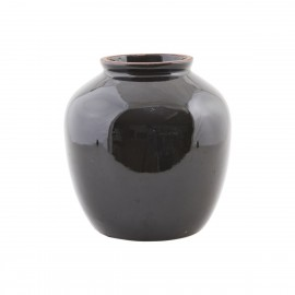 Vase noir gres emaille brillant House Doctor Shine