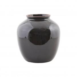 Vase noir grès émaillé brillant House Doctor Shine