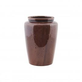 Vase pot grès émaillé marron House Doctor Cone