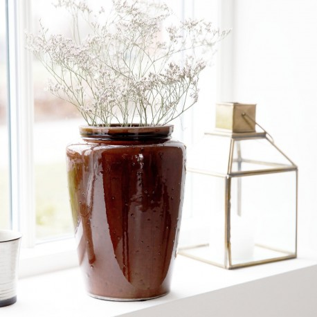 Vase pot en gres emaille marron House Doctor Cone