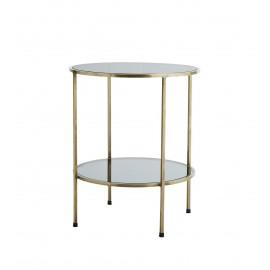 Table basse d'appoint ronde 2 niveaux laiton antique verre noir Madam Stoltz