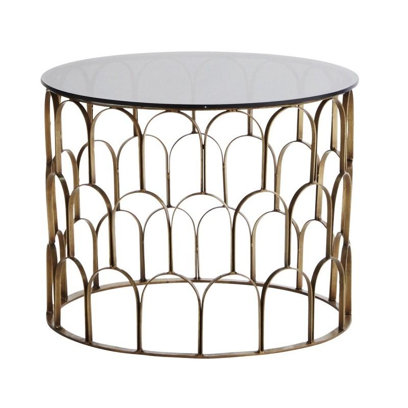 table basse ronde laiton antique art deco verre noir madam. Black Bedroom Furniture Sets. Home Design Ideas