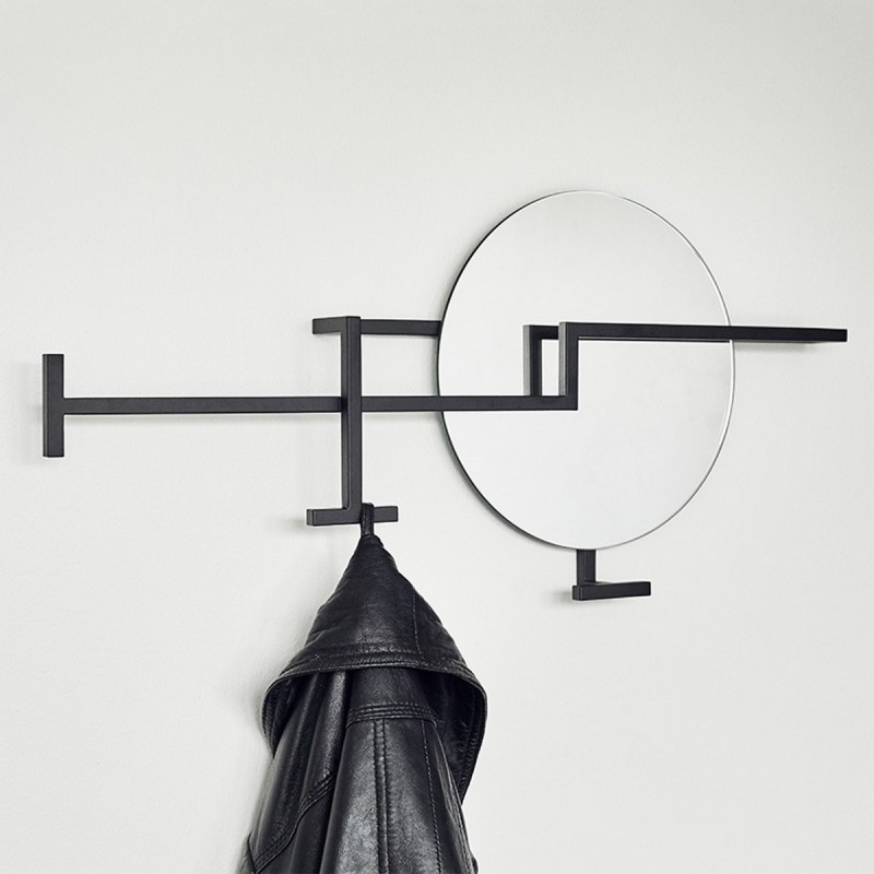 kristina dam studio graphic miroir mural portemanteau metal noir design. Black Bedroom Furniture Sets. Home Design Ideas