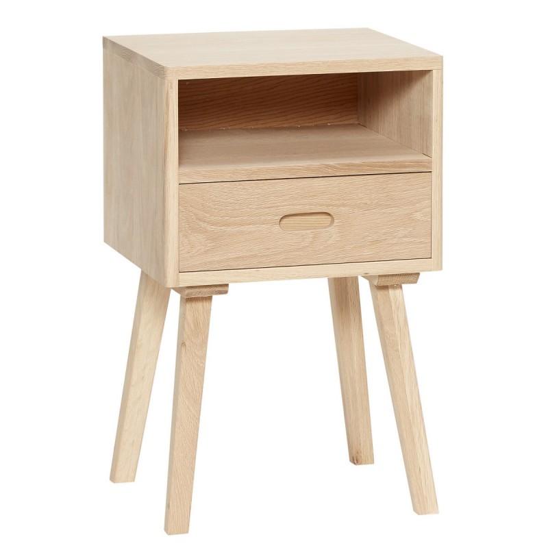 table de chevet en bois naturel avec tiroir hubsch 880308. Black Bedroom Furniture Sets. Home Design Ideas