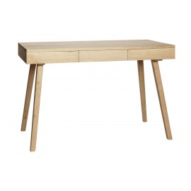 Table de bureau chene epuree 3 tiroirs Hubsch