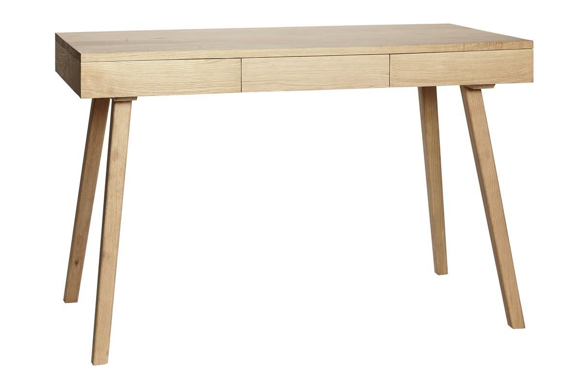Table de bureau chene epuree tiroirs hubsch kdesign