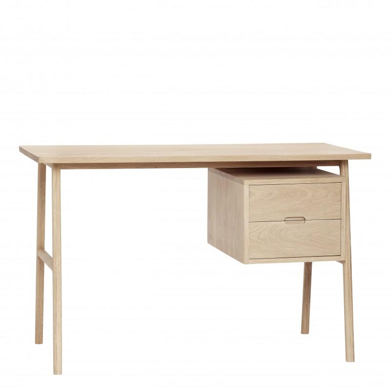table de bureau chene naturel 2 tiroirs hubsch 880503. Black Bedroom Furniture Sets. Home Design Ideas