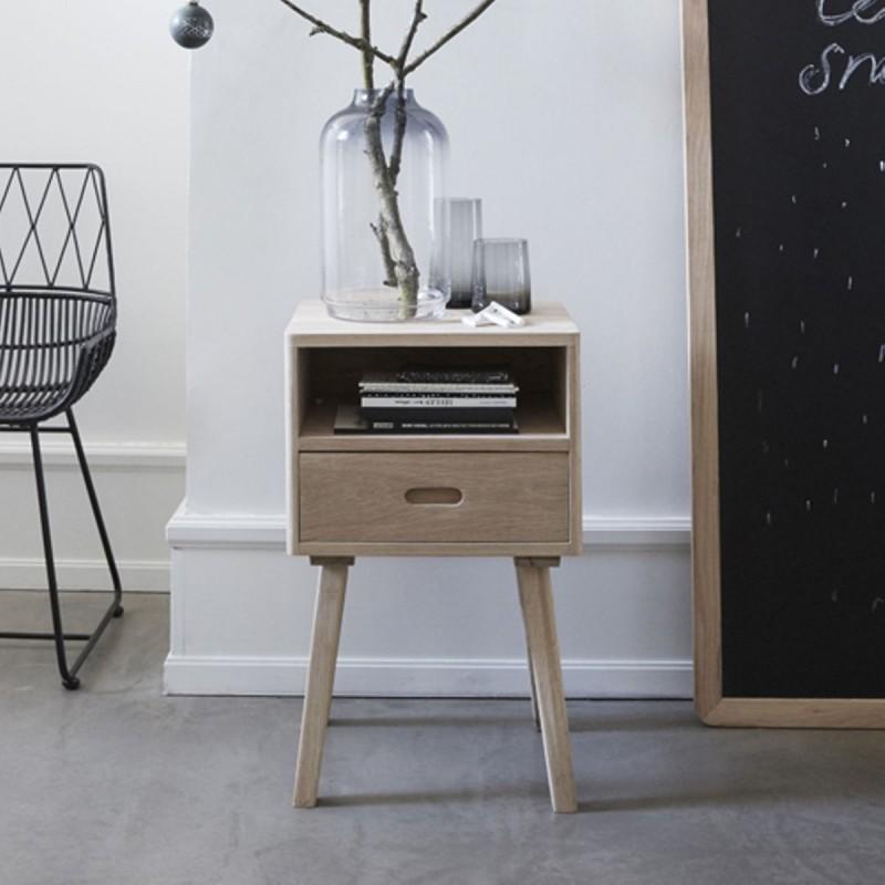 Table de chevet en bois naturel avec tiroir hubsch 880308 - Table de chevet chene clair ...