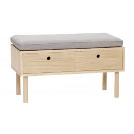 Banc de rangement 2 tiroirs bois naturel chene coussin gris hubsch