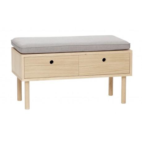 banc de rangement 2 tiroirs bois naturel chene coussin gris hubsch 880518. Black Bedroom Furniture Sets. Home Design Ideas