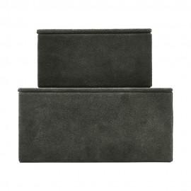 Boîtes de rangement House Doctor Suède cuir vert (set de 2)