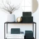 Boîtes de rangement House Doctor Suède cuir vert