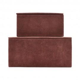 Boîtes de rangement cuir House Doctor Suède rouille (set de 2)