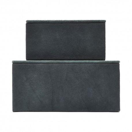 Boîtes de rangement en cuir bleu House Doctor Suède (set de 2)