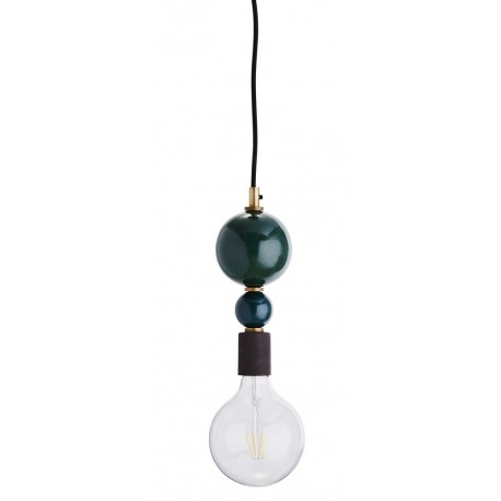 Suspension ampoule decorative boules en metal empilees madam stoltz