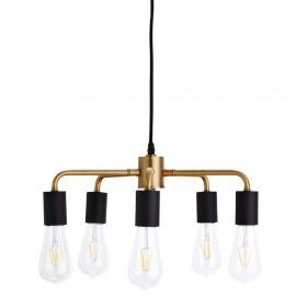 Suspension industrielle vintage 5 ampoules métal laiton Madam Stoltz 45 cm