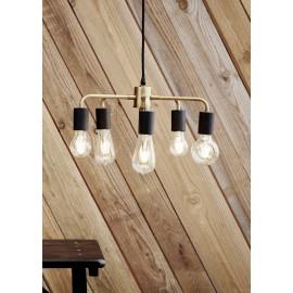 Suspension industrielle vintage 5 ampoules laiton madam stoltz