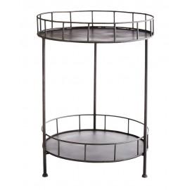 Table basse d appoint ronde 2 niveaux metal fer madam stoltz