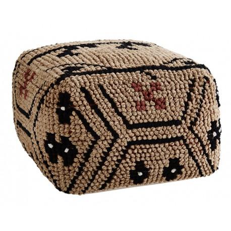 Pouf carre motif ethnique coton tresse camel madam stoltz