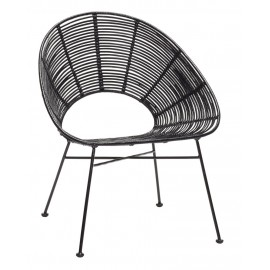 Fauteuil design métal rotin noir Hübsch