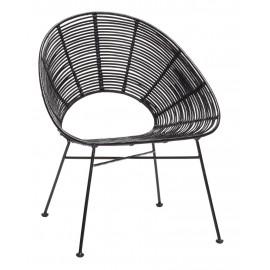 Fauteuil design en rotin noir Hübsch