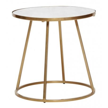 hubsch table basse ronde marbre blanc metal laiton dore 670321