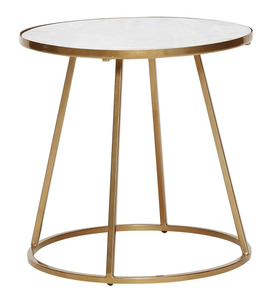 Table Basse Ronde Marbre Blanc Metal Laiton Dore Hubsch Kdesign