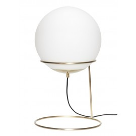 Lampe a poser retro sphere boule blanche laiton dore hubsch