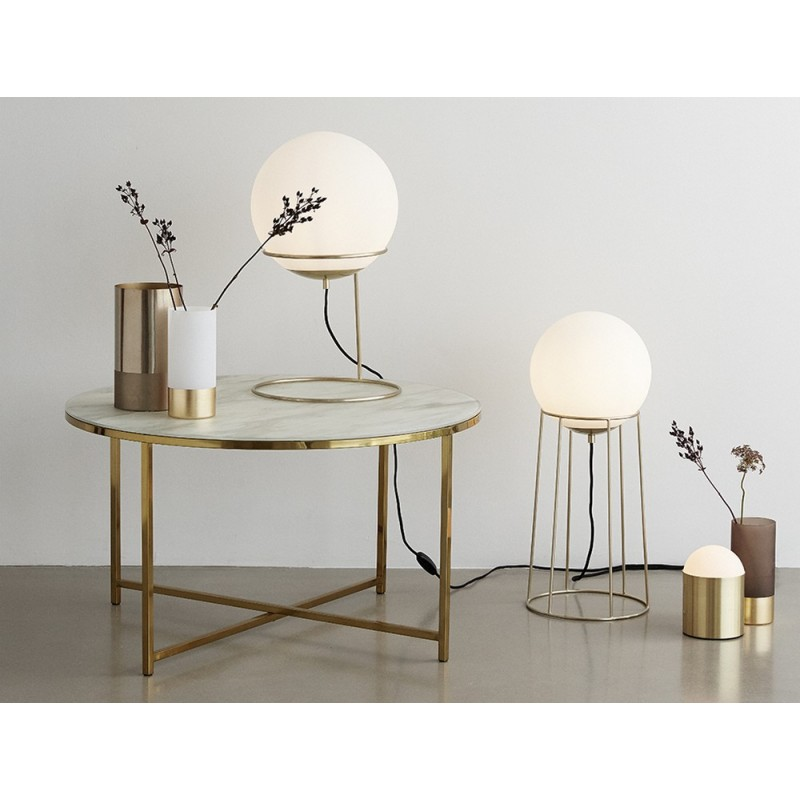 hubsch lampe a poser retro sphere boule blanche laiton dore 890605. Black Bedroom Furniture Sets. Home Design Ideas