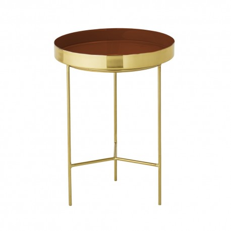Petite table basse d appoint metal dore plateau rouge bloomingville