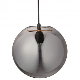 Suspension boule verre gris fume argent bloomingville