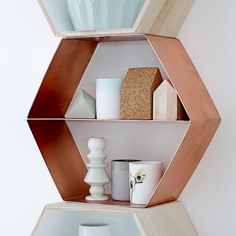 bloomingville etagere hexagonale metal cuivre 27800006. Black Bedroom Furniture Sets. Home Design Ideas