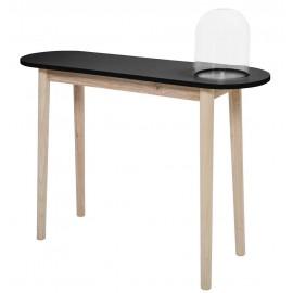 Table console bois nature et noir avec cloche en verre bloomingville