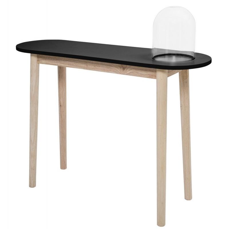 bloomingville table console bois nature noir avec cloche. Black Bedroom Furniture Sets. Home Design Ideas