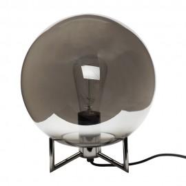 Lampe à poser boule verre chromé gris Hübsch 26 cm