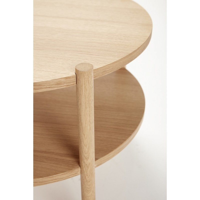 hubsch table basse ronde bois naturel 2 plateaux 880619. Black Bedroom Furniture Sets. Home Design Ideas