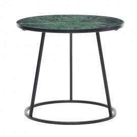 Table basse ronde marbre vert métal noir Hübsch
