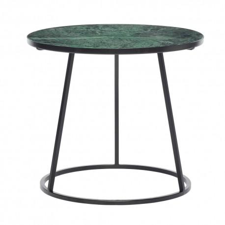 Table basse ronde marbre vert metal noir hubsch