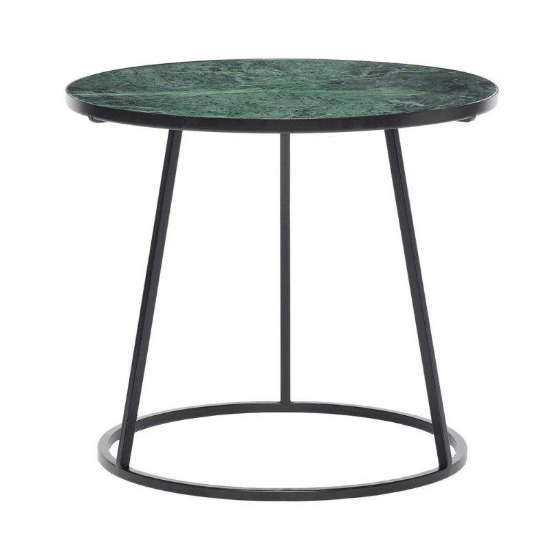 hubsch table basse ronde marbre vert metal noir 670207. Black Bedroom Furniture Sets. Home Design Ideas