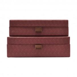 Set de 2 boîtes de rangement rouge foncé House Doctor Ray