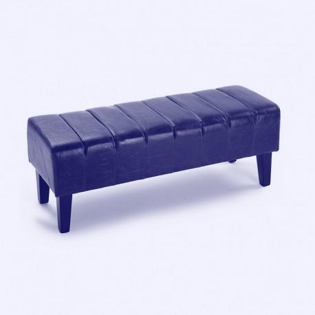 banc bout de lit bleu fonce simili cuir versa